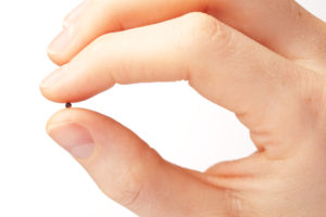 Macro image of a female hand holding a mustard seed. The mustard seed is often seen as a symbol of faith and belief because of various biblical passages.