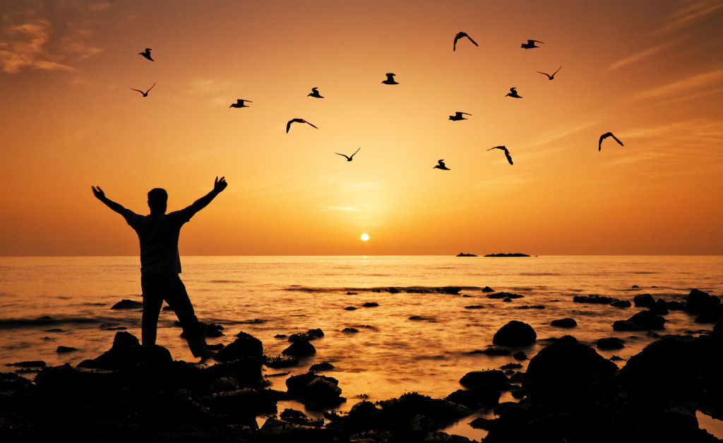 Man feeling freedom on beach during sunrise, birds flying around