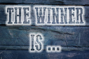 The Winner Is Concept text on background