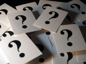 Stack of cards with Question Marks on them