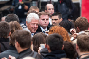 """Kyiv. Ukraine - October 3 2010: 42nd US President Bill Clinton during the """"Battle for the Future"""" devoted to the fight against AIDS at St. Michael's Square in Kyiv"""